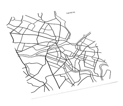 line drawing map geneva map line drawing switzerland wall poster