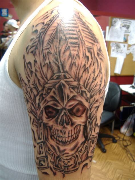 tribal skull sleeve tattoos aztec tattoos designs ideas and meaning tattoos for you