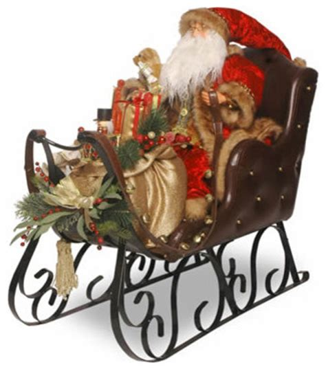 brass binnacle 30 in santa on sleigh christmas decoration