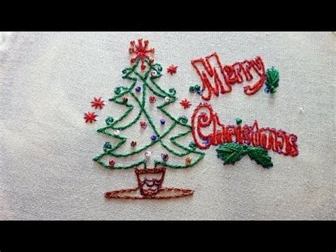 stitch style merry christmas hand embroidery designs  humaira arts youtube