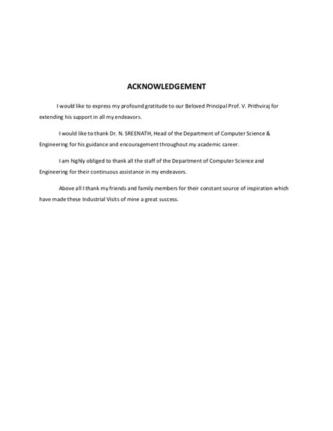 Acknowledgement Letter For Industrial Visit Ipt Report