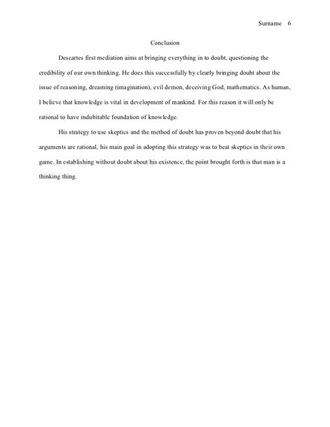 Conclusion Reflective Essay by Mla Style Essay Reflection On Descartes