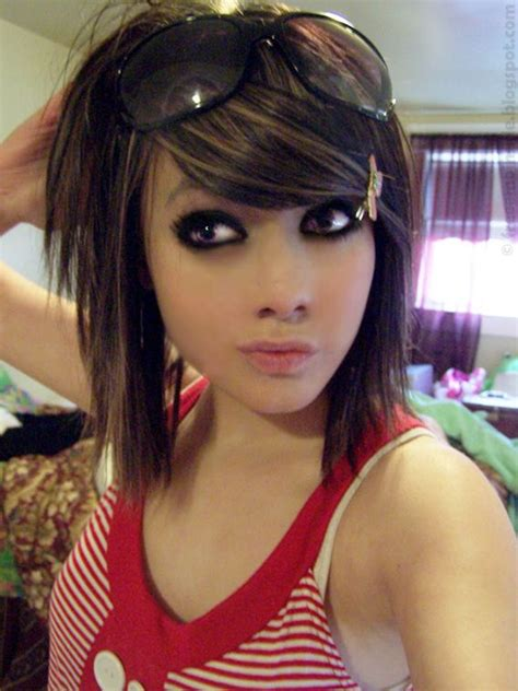 emo wallpapers emo girl hairstyle  googles red shirt