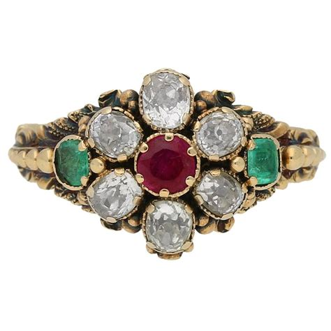 georgian ruby emerald gold engagement ring at 1stdibs