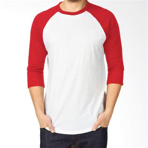 jual kaosyes kaos polos t shirt raglan lengan 3 4 putih