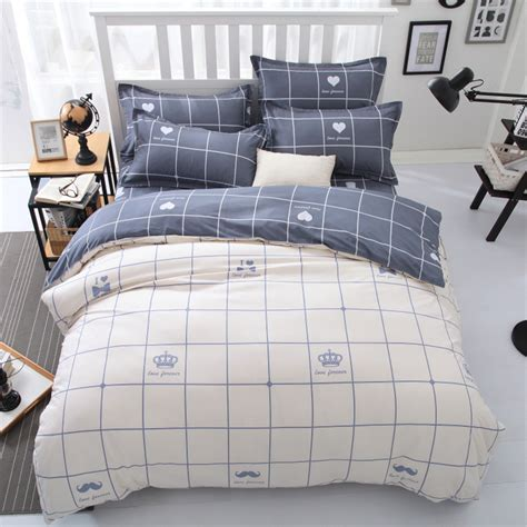 popular bedding bedroom popular blue plaid bedding with small glass