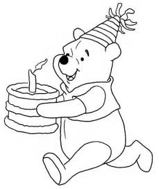 Winnie The Pooh Cake Template by Disney Winnie The Pooh Running With Birthday Cake Coloring