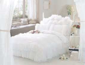 white ruffle lace princess bedding comforter set