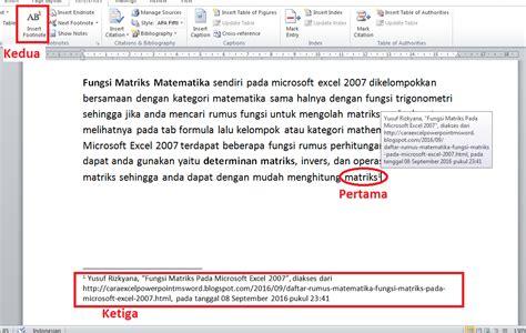 Cara Membuat Catatan Kaki Ms Word 2010 | cara membuat footnote contoh penulisan catatan kaki ms
