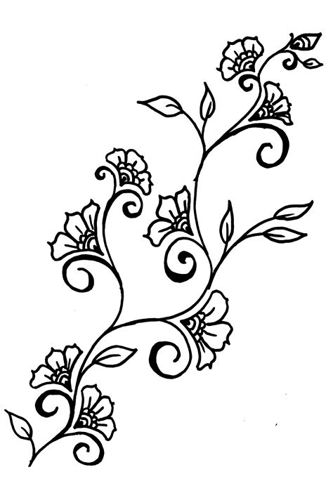 simple vine pattern free vines and flowers coloring pages