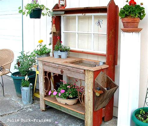 wood potting benches i love that junk selectively salvaged wood potting bench julie turk franzen