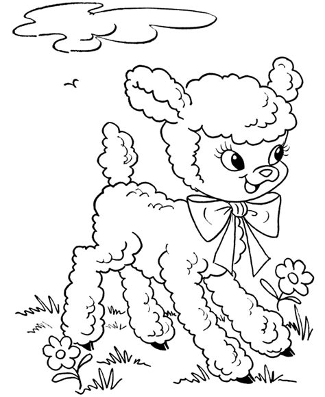 cute lamb coloring pages bluebonkers free printable easter lamb coloring page