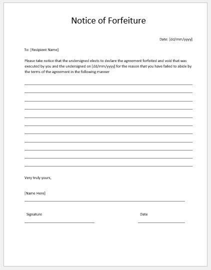 forfeiture notice template notice of forfeiture template ms word microsoft word