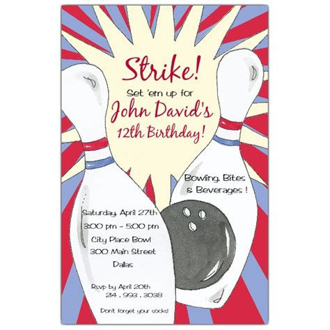 bowling birthday invitation templates bowling birthday invitations paperstyle