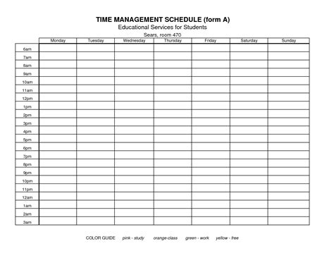 template for time management schedule 7 best images of free printable time management forms