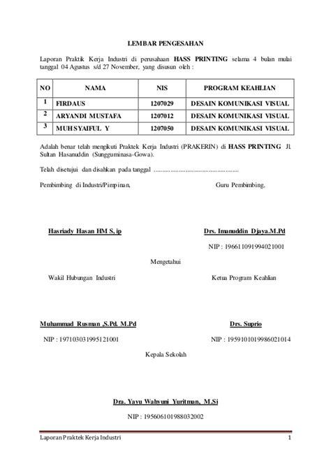 Contoh Notulen Rapat Singkat by Contoh Laporan Praktik Kerja Industri Smk Prakerin