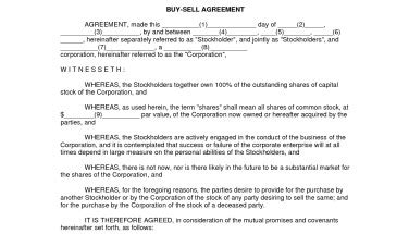 simple buy sell agreement free printable documents