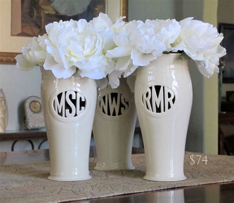 Monogrammed Vases by Custom Monogram Vase From Etsy House Decorators Collection