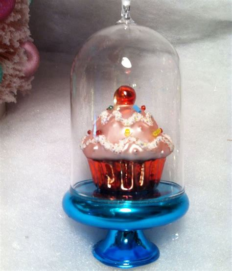 cupcake christmas tree decirations glass dome blue cake stand w pink cupcake tree ornament ebay