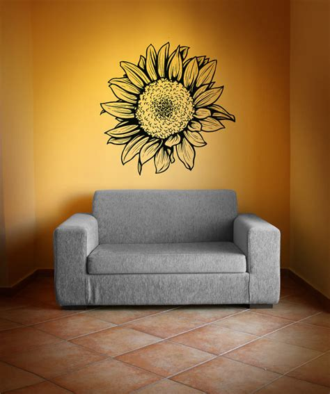 sunflower wall stickers items similar to vinyl wall decal sticker sunflower 1069m on etsy