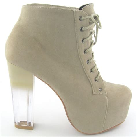 new womens clear heel ankle boots concealed
