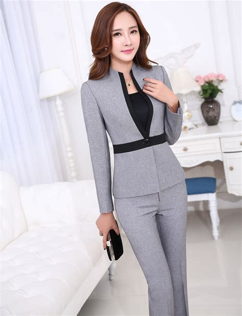 grey trouser suit womens dress yy