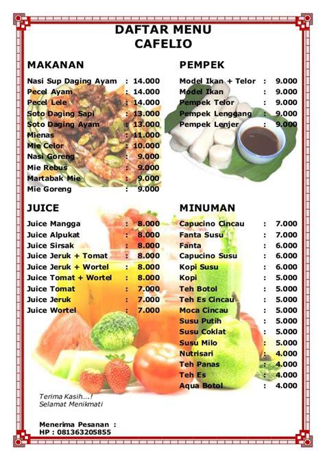 daftar menu cafelio