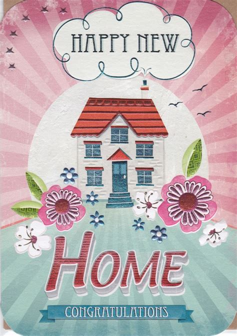 happy in your home house flowers happy new home card karenza paperie