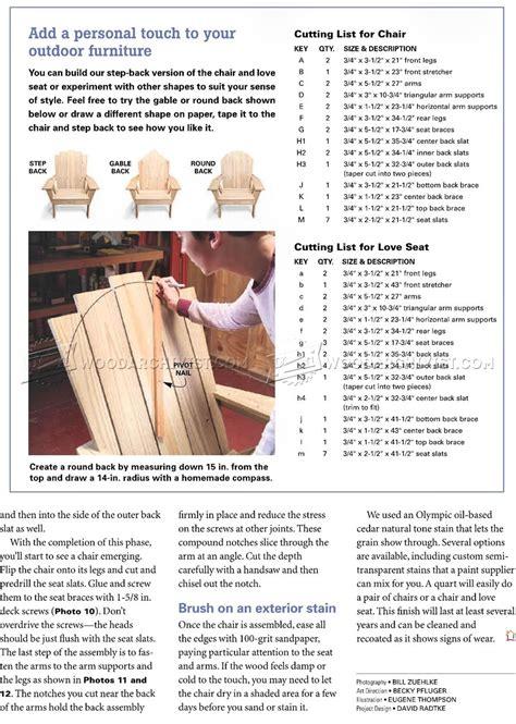 adirondack love seat plans woodarchivist