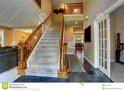 Hallway Railings Hallway With Wooden Staircase Stock Photo Image 42178754