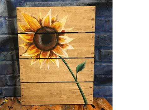 muse paintbar boston muse paintbar sunflower wooden sign