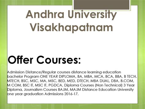 Andhra Visakhapatnam Mba by Andhra Distance Learning Education