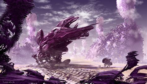 the amazing alien worlds and jungles of scifi artist