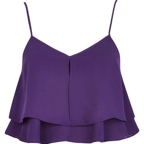 decke lila river island purple layer cami crop top in purple