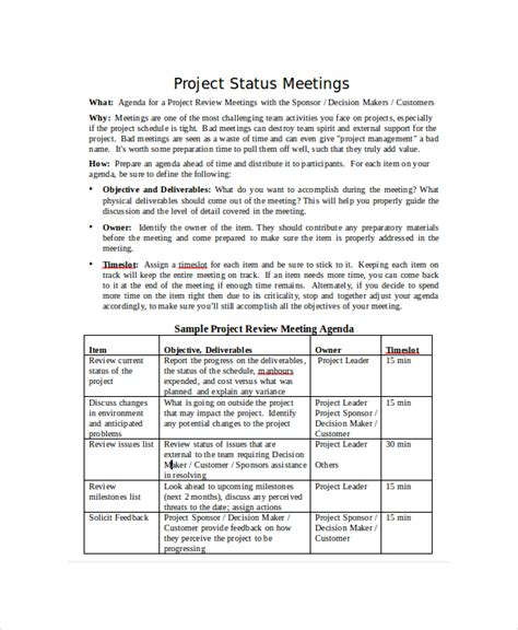 Meeting Status Report Template 8 Project Status Templates Free Sle Exle