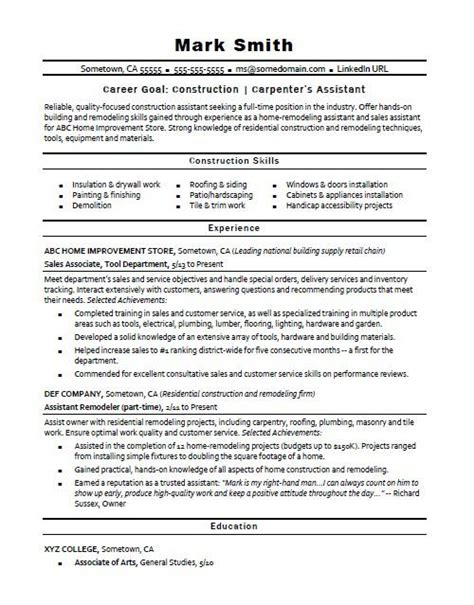 Construction Resume Exles And Sles by Construction Carpenter S Assistant Resume Sle
