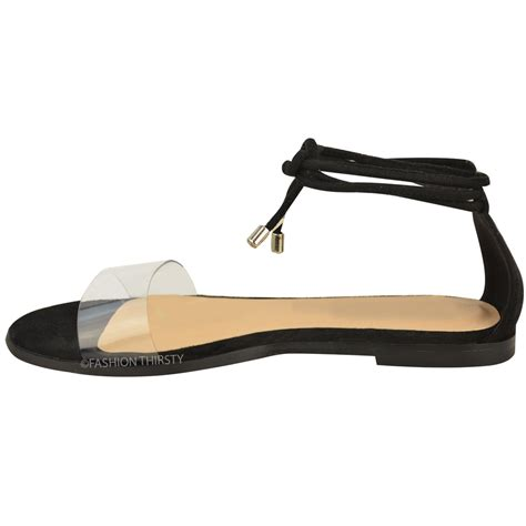 flat shoe with ankle new womens flat ankle tie up sandals summer perspex