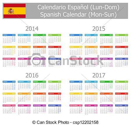 Calendario 2017 En Español Clipart Vectorial De 2014 2017 Type 1 Espa 241 Ol