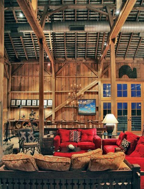 barn home interiors lodge style decor that i like pinterest red couches