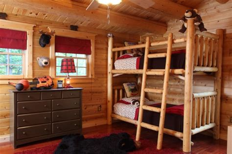 cedar log bunk bed by robert r norman and woodzy org 15 playful rustic kids room ideas that your kids will