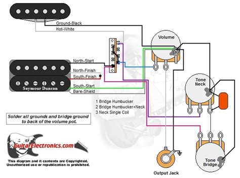 1 humbucker 1 single coil 3 way lever switch 1 volume 2