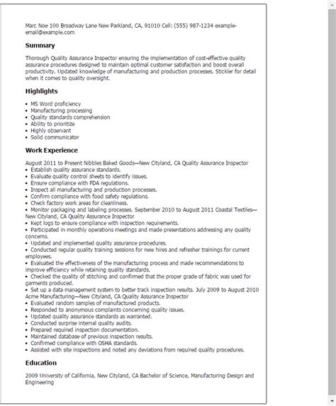 1 quality assurance inspector resume templates try them