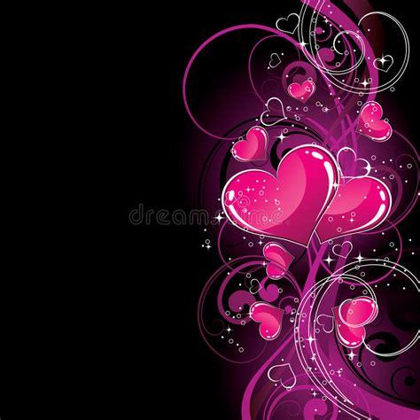 black pink heart pink hearts on black stock image image 9667201