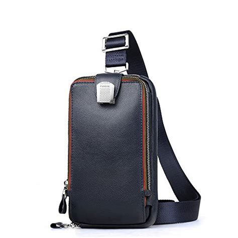 Tas Diophy lanica mens genuine leather crossbody chest sling backpack