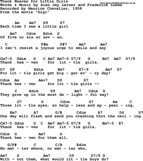 lyrics chevalier song lyrics with guitar chords for thank heaven for