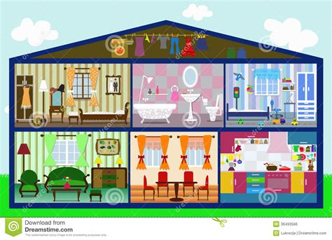 interior of a house cute house cut stock vector illustration of colorful 36493566