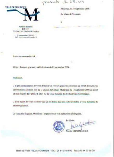 Présentation Type Lettre Officielle Deuxieme Rejet De La Part De La Mairie Mouroux Patrimoine