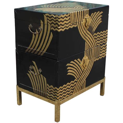 Black And Gold Chest Of Drawers by Stacked Black Lacquer And Gold Stacked Chests At 1stdibs