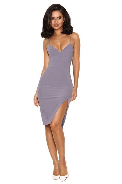 22079 Cut Pencil Sml clothing pencil dresses raqa grey assymetric cut bralet dress