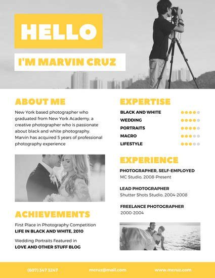 How To Make A Free Resume Online by Yellow Photographer Creative Resume Templates By Canva